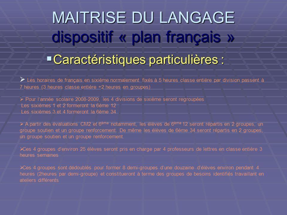 MAITRISE DU LANGAGE dispositif « plan français » Caractéristiques particulières : Caractéristiques particulières : Les horaires de français en sixième