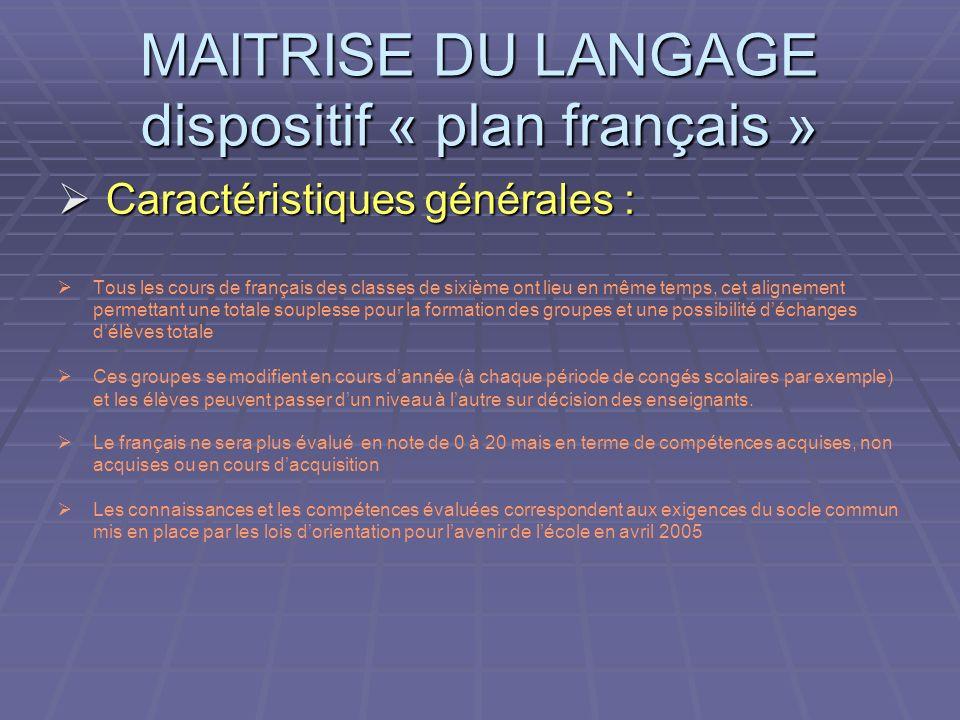 Caractéristiques générales : Caractéristiques générales : Tous les cours de français des classes de sixième ont lieu en même temps, cet alignement per