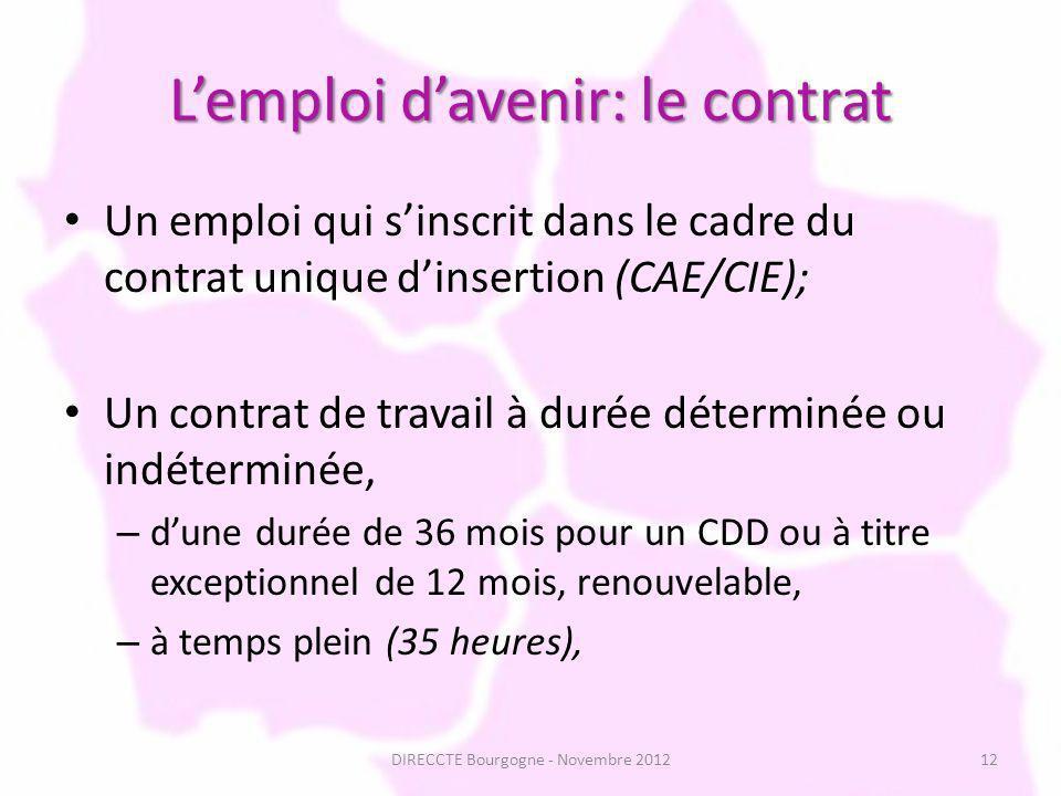 Lemploi davenir: le contrat Un emploi qui sinscrit dans le cadre du contrat unique dinsertion (CAE/CIE); Un contrat de travail à durée déterminée ou indéterminée, – dune durée de 36 mois pour un CDD ou à titre exceptionnel de 12 mois, renouvelable, – à temps plein (35 heures), 12DIRECCTE Bourgogne - Novembre 2012