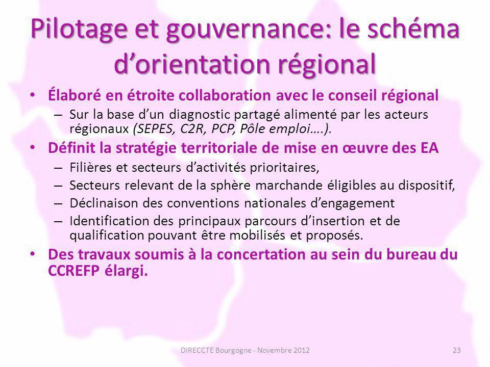 Pilotage et gouvernance: le schéma dorientation régional Élaboré en étroite collaboration avec le conseil régional – Sur la base dun diagnostic partagé alimenté par les acteurs régionaux (SEPES, C2R, PCP, Pôle emploi….).