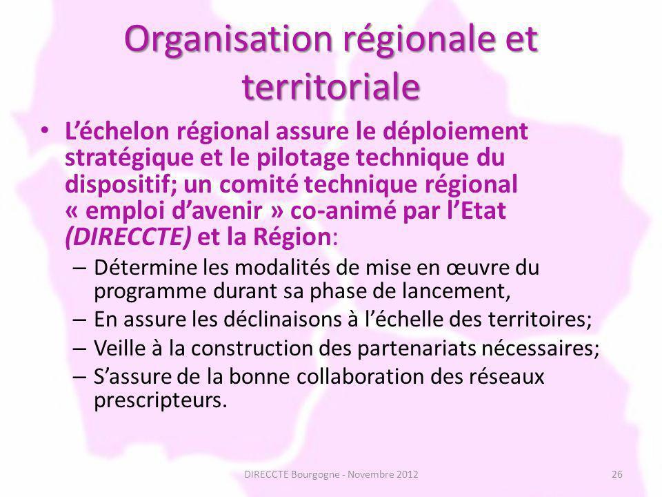 Organisation régionale et territoriale Léchelon régional assure le déploiement stratégique et le pilotage technique du dispositif; un comité technique régional « emploi davenir » co-animé par lEtat (DIRECCTE) et la Région: – Détermine les modalités de mise en œuvre du programme durant sa phase de lancement, – En assure les déclinaisons à léchelle des territoires; – Veille à la construction des partenariats nécessaires; – Sassure de la bonne collaboration des réseaux prescripteurs.