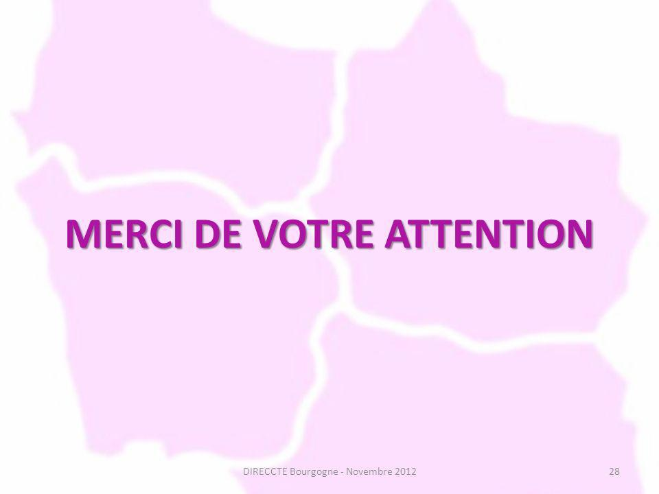 MERCI DE VOTRE ATTENTION DIRECCTE Bourgogne - Novembre 201228