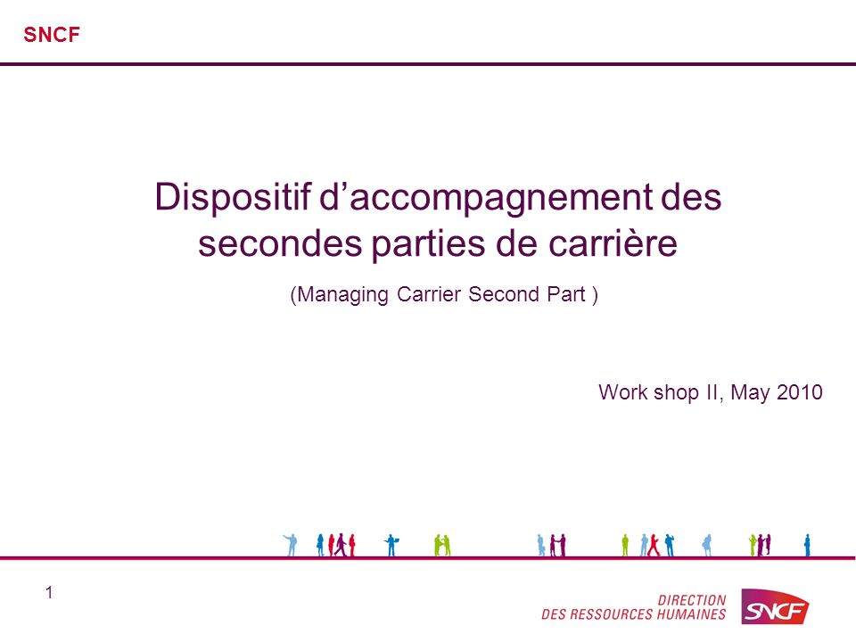 1 Dispositif daccompagnement des secondes parties de carrière (Managing Carrier Second Part ) SNCF Work shop II, May 2010