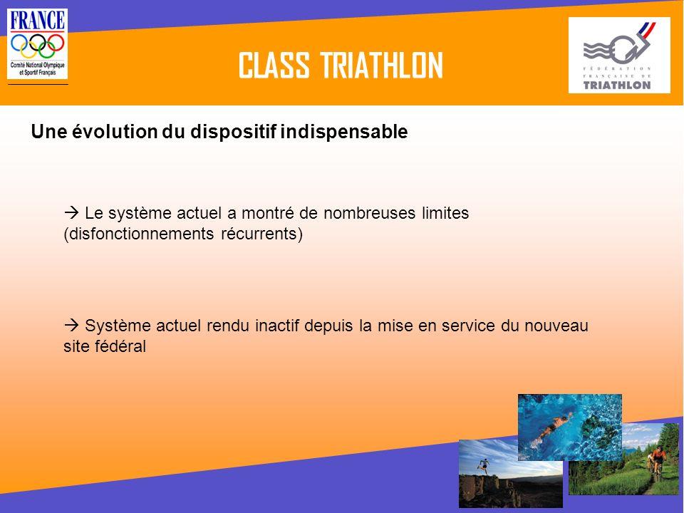 CLASS TRIATHLON Le système actuel a montré de nombreuses limites (disfonctionnements récurrents) Une évolution du dispositif indispensable Système act