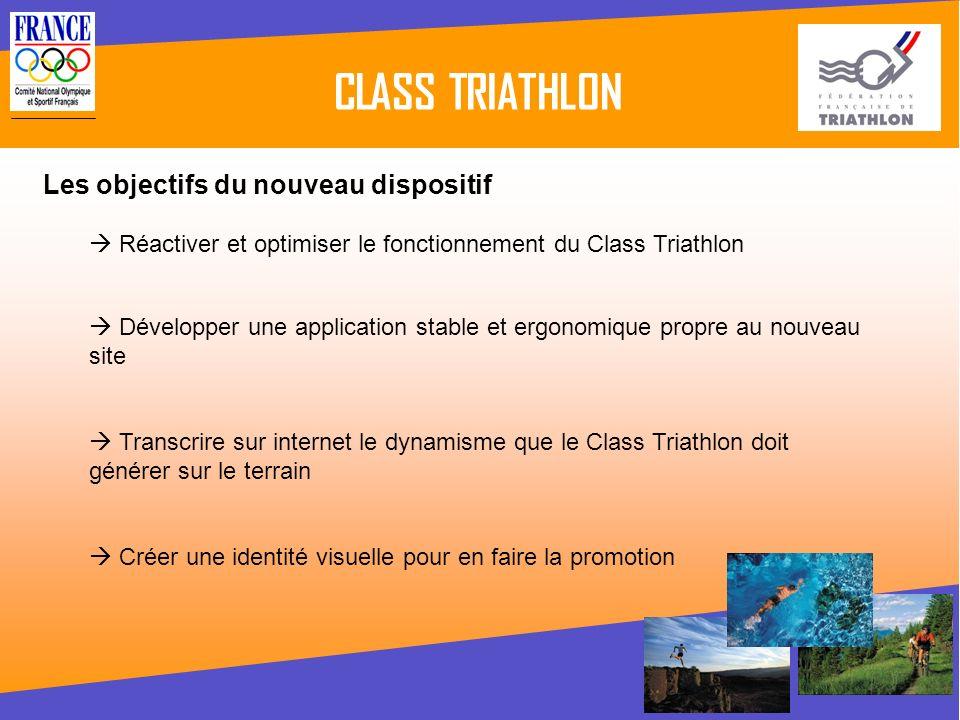 CLASS TRIATHLON Réactiver et optimiser le fonctionnement du Class Triathlon Les objectifs du nouveau dispositif Développer une application stable et e