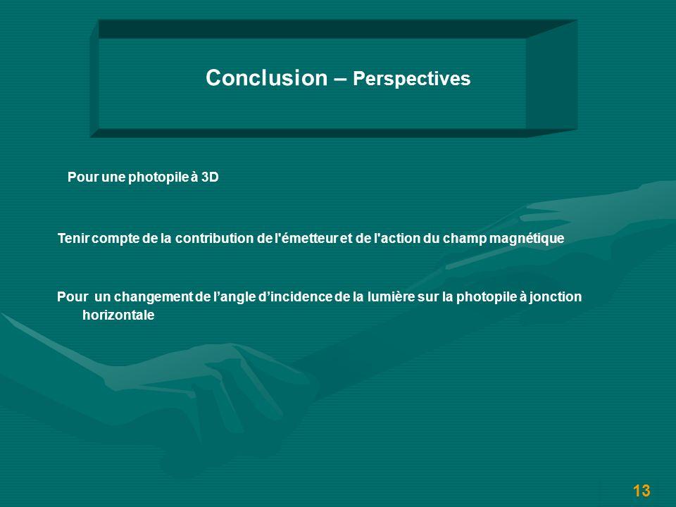 13 Conclusion – Perspectives Pour une photopile à 3D Pour un changement de langle dincidence de la lumière sur la photopile à jonction horizontale Tenir compte de la contribution de l émetteur et de l action du champ magnétique