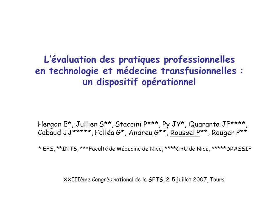Lévaluation des pratiques professionnelles en technologie et médecine transfusionnelles : un dispositif opérationnel Hergon E*, Jullien S**, Staccini