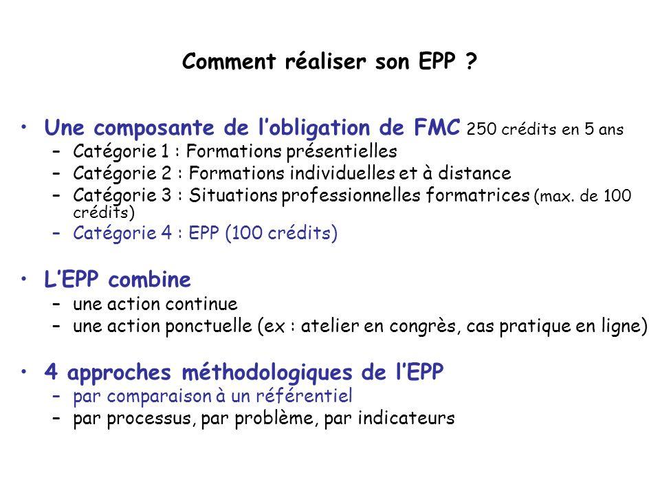 Comment réaliser son EPP ? Une composante de lobligation de FMC 250 crédits en 5 ans –Catégorie 1 : Formations présentielles –Catégorie 2 : Formations
