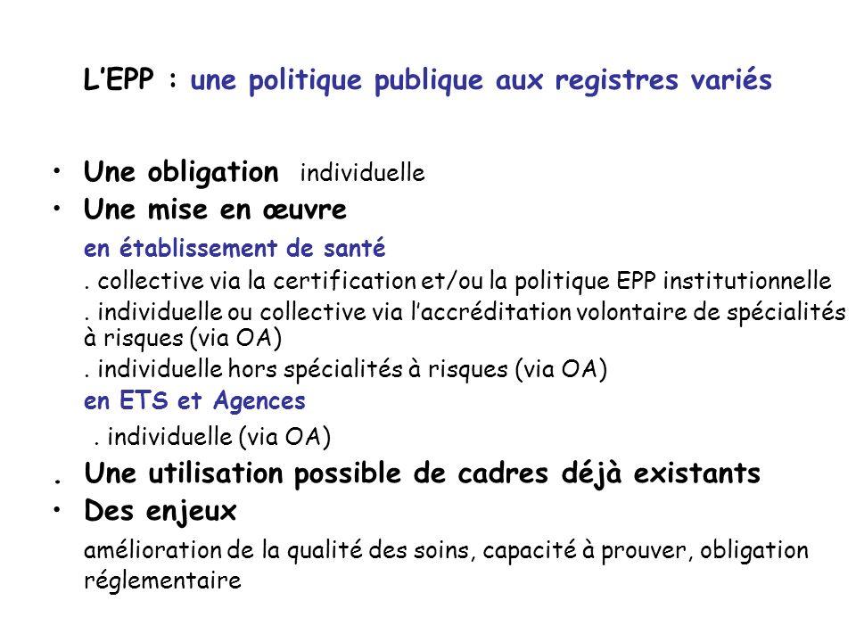 LEPP : une politique publique aux registres variés Une obligation individuelle Une mise en œuvre en établissement de santé. collective via la certific