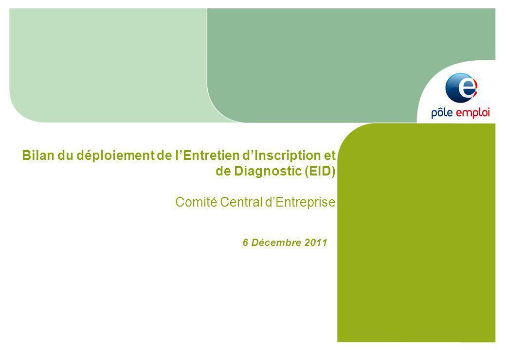 6 Décembre 2011 Bilan du déploiement de lEntretien dInscription et de Diagnostic (EID) Comité Central dEntreprise