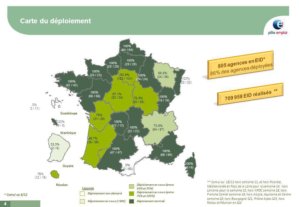 Carte du déploiement 4 Déploiement non démarré Déploiement en cours (<50%) Déploiement en cours (entre 50% et 75%) Déploiement en cours (entre 75% et 100%) Déploiement terminé Légende Réunion Guadeloupe Martinique Guyane * Cumul au 6/12 ** Cumul au 18/11 hors semaine 11, et hors Picardie, Méditerranée et Pays de la Loire pour la semaine 14, hors Lorraine pour la semaine 15, hors NPDC semaine 18, hors Franche Comté semaine 19, hors Alsace, Aquitaine et Centre semaine 20, hors Bourgogne S21, Rhône Alpes S23, hors Poitou et Réunion en S24