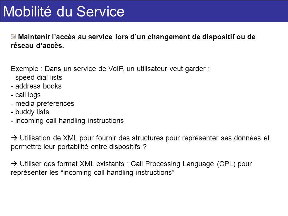 Mobilité du Service Maintenir laccès au service lors dun changement de dispositif ou de réseau daccès. Exemple : Dans un service de VoIP, un utilisate