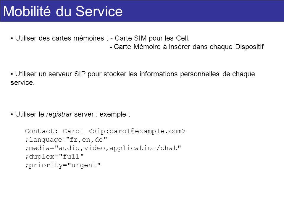 Mobilité du Service Utiliser des cartes mémoires : - Carte SIM pour les Cell. - Carte Mémoire à insérer dans chaque Dispositif Utiliser un serveur SIP