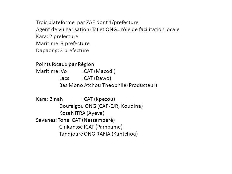 Trois plateforme par ZAE dont 1/prefecture Agent de vulgarisation (Ts) et ONG= rôle de facilitation locale Kara: 2 prefecture Maritime: 3 prefecture Dapaong: 3 prefecture Points focaux par Région Maritime: VoICAT (Macodl) LacsICAT (Dawo) Bas Mono Atchou Théophile (Producteur) Kara: BinahICAT (Kpezou) Doufelgou ONG (CAP-EJR, Koudina) Kozah ITRA (Ayeva) Savanes: Tone ICAT (Nassampéré) Cinkanssé ICAT (Pampame) Tandjoaré ONG RAFIA (Kantchoa)