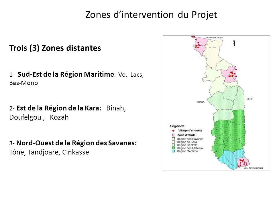 Zones dintervention du Projet Trois (3) Zones distantes 1- Sud-Est de la Région Maritime : Vo, Lacs, Bas-Mono 2- Est de la Région de la Kara: Binah, Doufelgou, Kozah 3- Nord-Ouest de la Région des Savanes: Tône, Tandjoare, Cinkasse