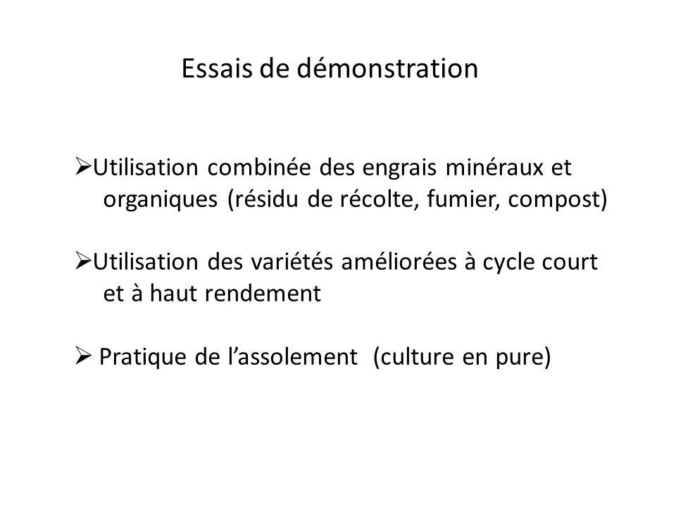 Utilisation combinée des engrais minéraux et organiques (résidu de récolte, fumier, compost) Utilisation des variétés améliorées à cycle court et à ha