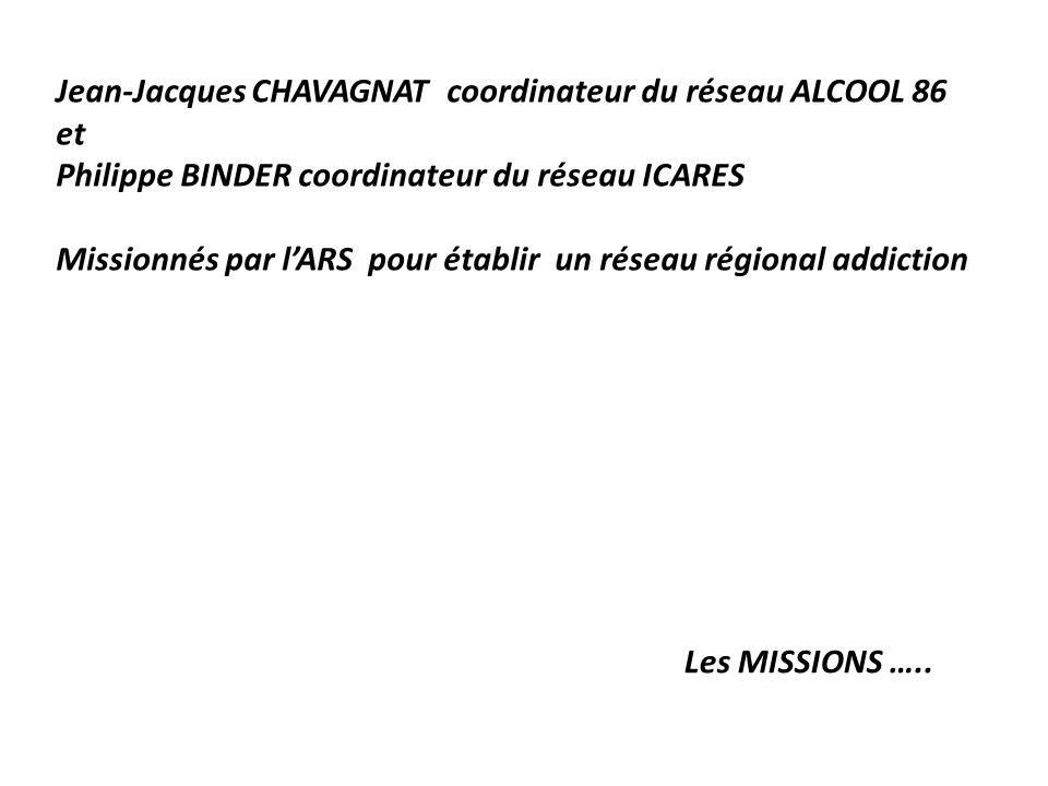 Jean-Jacques CHAVAGNAT coordinateur du réseau ALCOOL 86 et Philippe BINDER coordinateur du réseau ICARES Missionnés par lARS pour établir un réseau ré