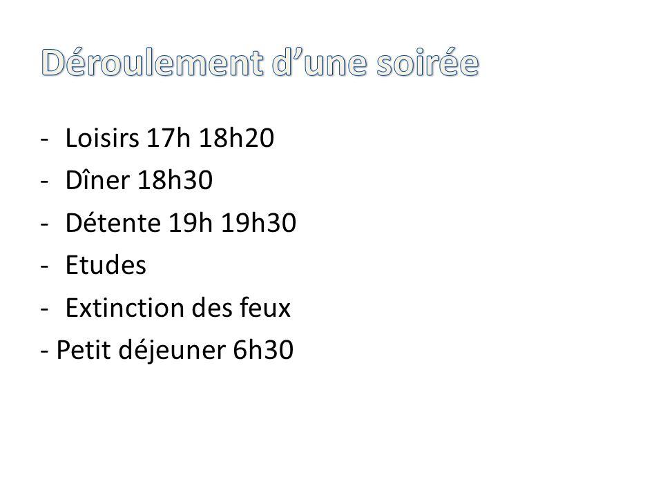 -Loisirs 17h 18h20 -Dîner 18h30 -Détente 19h 19h30 -Etudes -Extinction des feux - Petit déjeuner 6h30