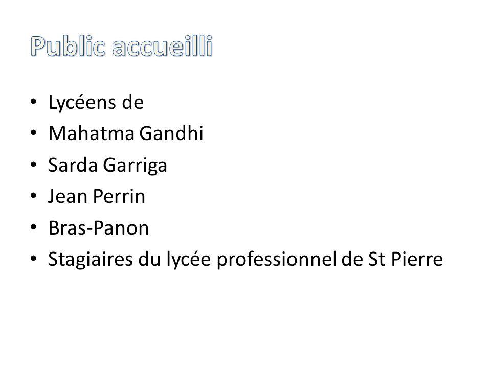 Lycéens de Mahatma Gandhi Sarda Garriga Jean Perrin Bras-Panon Stagiaires du lycée professionnel de St Pierre