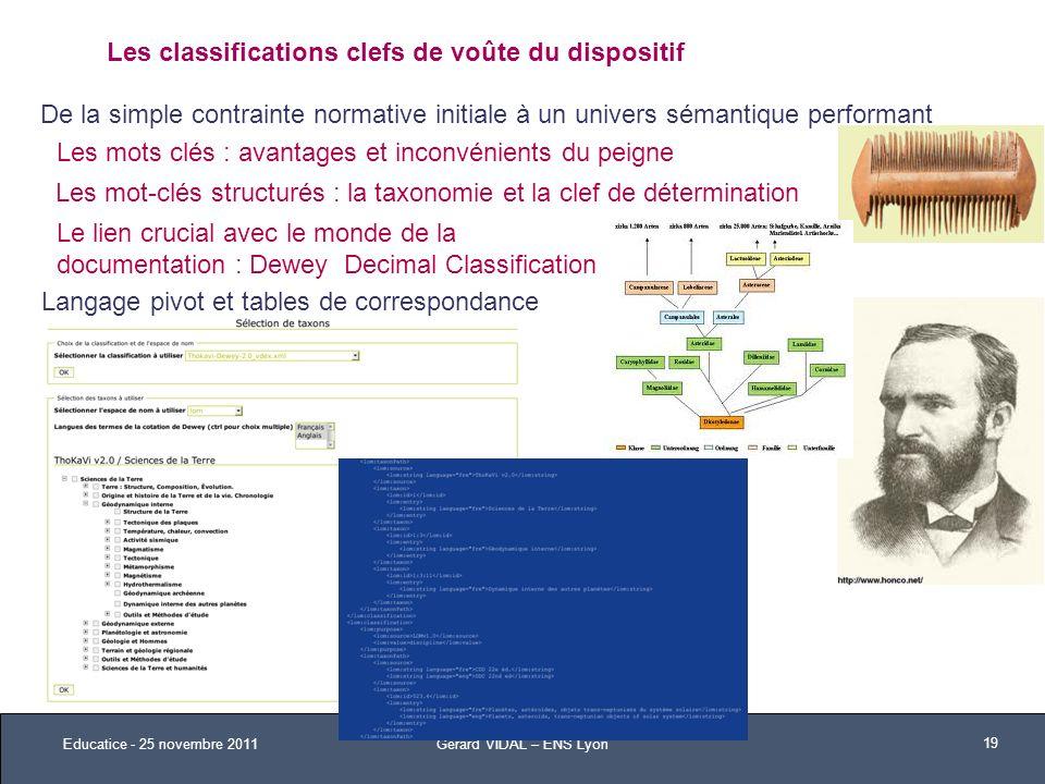 Les classifications clefs de voûte du dispositif Les mots clés : avantages et inconvénients du peigne Les mot-clés structurés : la taxonomie et la cle