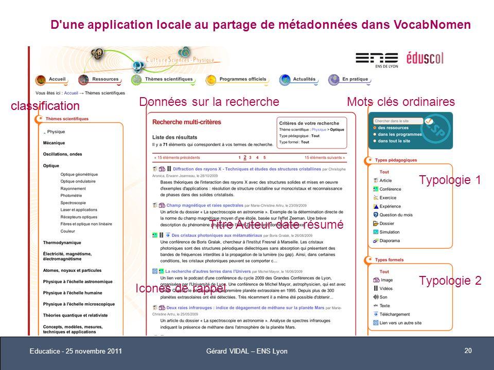 D'une application locale au partage de métadonnées dans VocabNomen classification Typologie 1 classification Typologie 2 Titre Auteur date résumé Icon