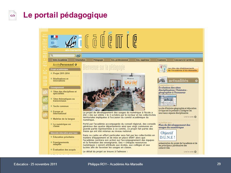 Le portail pédagogique Educatice - 25 novembre 2011 29 Philippe ROY– Académie Aix-Marseille