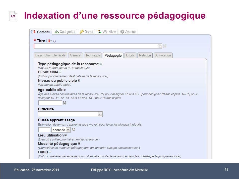 Indexation dune ressource pédagogique Educatice - 25 novembre 2011 31 Philippe ROY– Académie Aix-Marseille