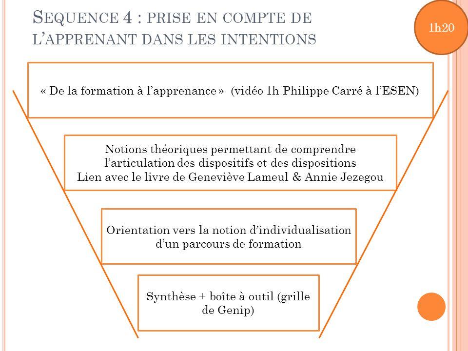 S EQUENCE 4 : PRISE EN COMPTE DE L APPRENANT DANS LES INTENTIONS « De la formation à lapprenance » (vidéo 1h Philippe Carré à lESEN) Notions théorique