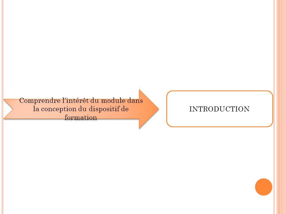 Comprendre lintérêt du module dans la conception du dispositif de formation INTRODUCTION