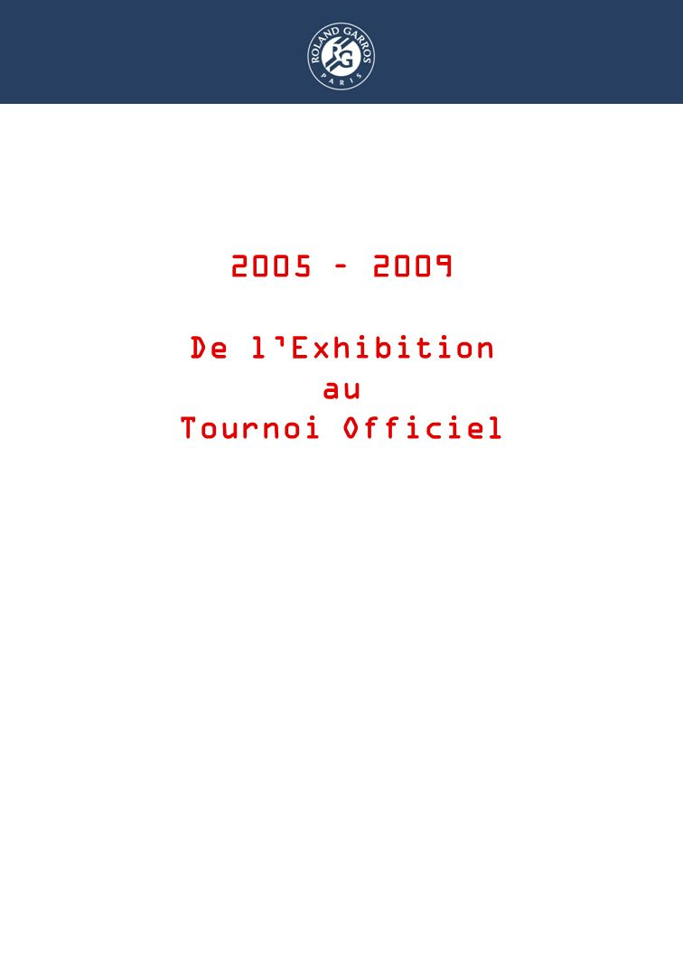 DISPOSITIF RAMASSEURS 2005 – 2009 De lExhibition au Tournoi Officiel