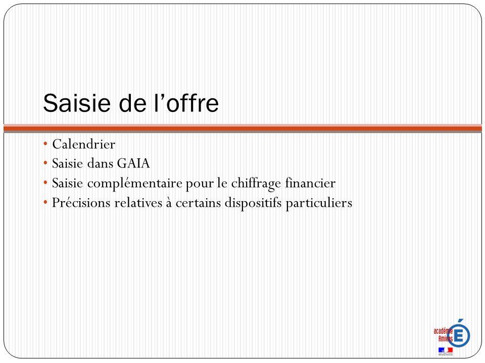 Saisie de loffre Calendrier Saisie dans GAIA Saisie complémentaire pour le chiffrage financier Précisions relatives à certains dispositifs particuliers