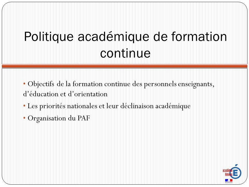 Politique académique de formation continue Objectifs de la formation continue des personnels enseignants, déducation et dorientation Les priorités nationales et leur déclinaison académique Organisation du PAF