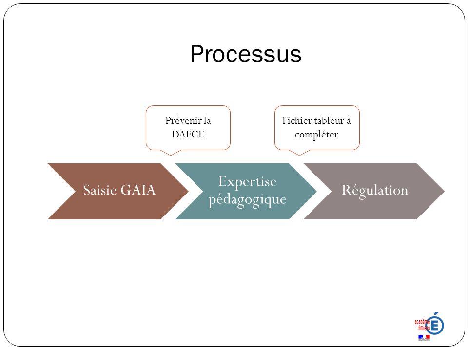 Processus Saisie GAIA Expertise pédagogique Régulation Prévenir la DAFCE Fichier tableur à compléter