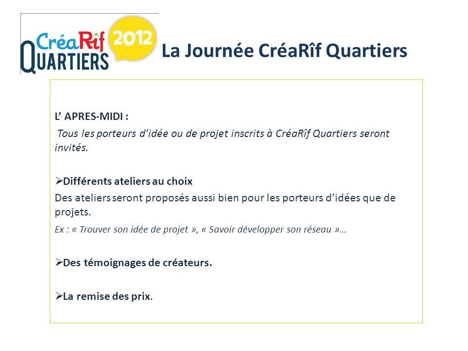 L APRES-MIDI : Tous les porteurs didée ou de projet inscrits à CréaRîf Quartiers seront invités.