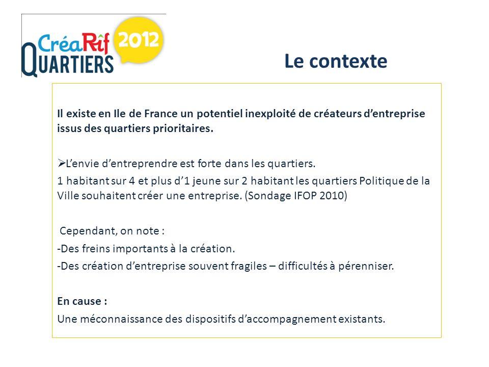 Il existe en Ile de France un potentiel inexploité de créateurs dentreprise issus des quartiers prioritaires.