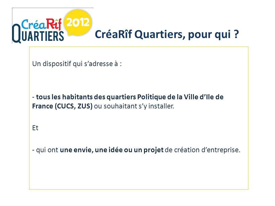 Un dispositif qui sadresse à : - tous les habitants des quartiers Politique de la Ville dIle de France (CUCS, ZUS) ou souhaitant sy installer.