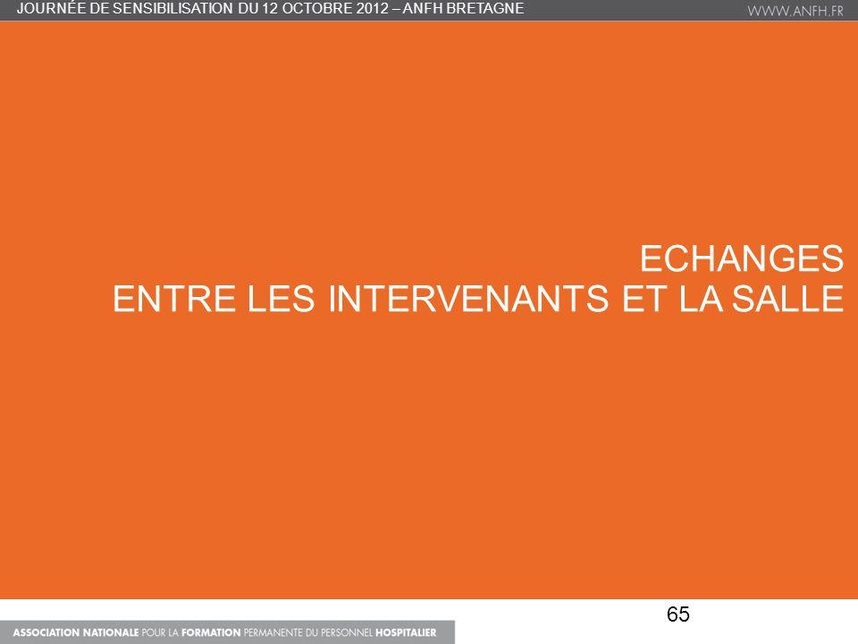 ECHANGES ENTRE LES INTERVENANTS ET LA SALLE 65 JOURNÉE DE SENSIBILISATION DU 12 OCTOBRE 2012 – ANFH BRETAGNE
