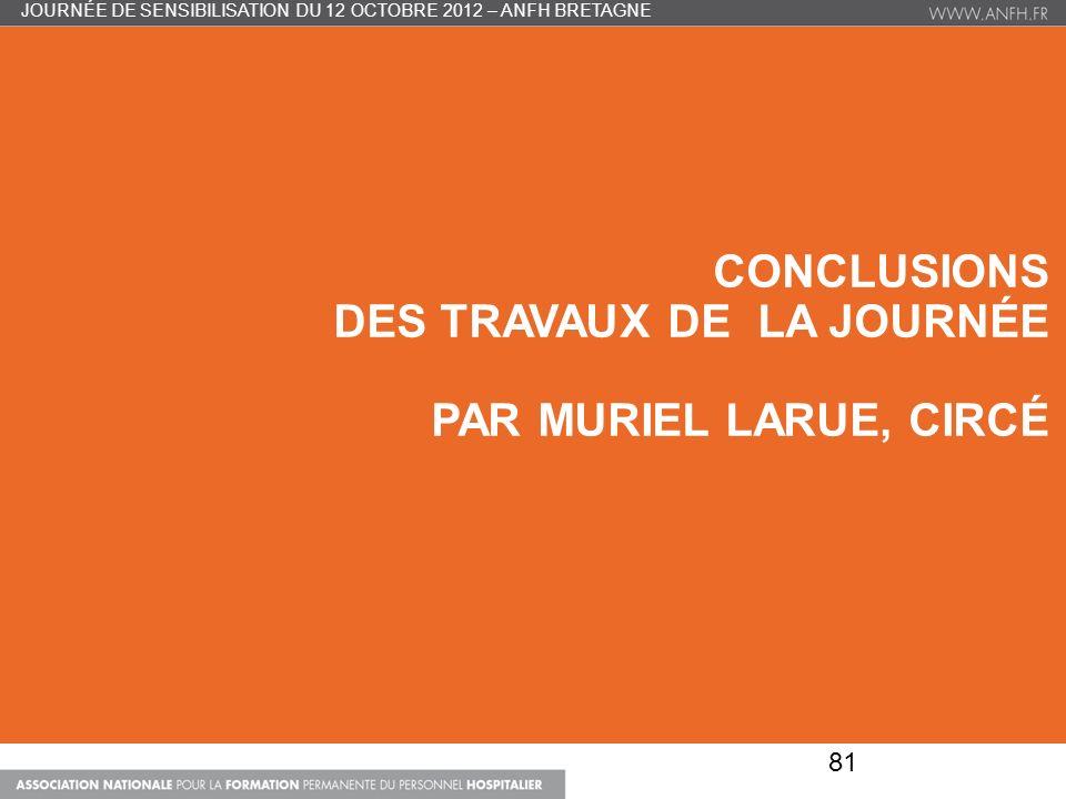 CONCLUSIONS DES TRAVAUX DE LA JOURNÉE PAR MURIEL LARUE, CIRCÉ 81 JOURNÉE DE SENSIBILISATION DU 12 OCTOBRE 2012 – ANFH BRETAGNE