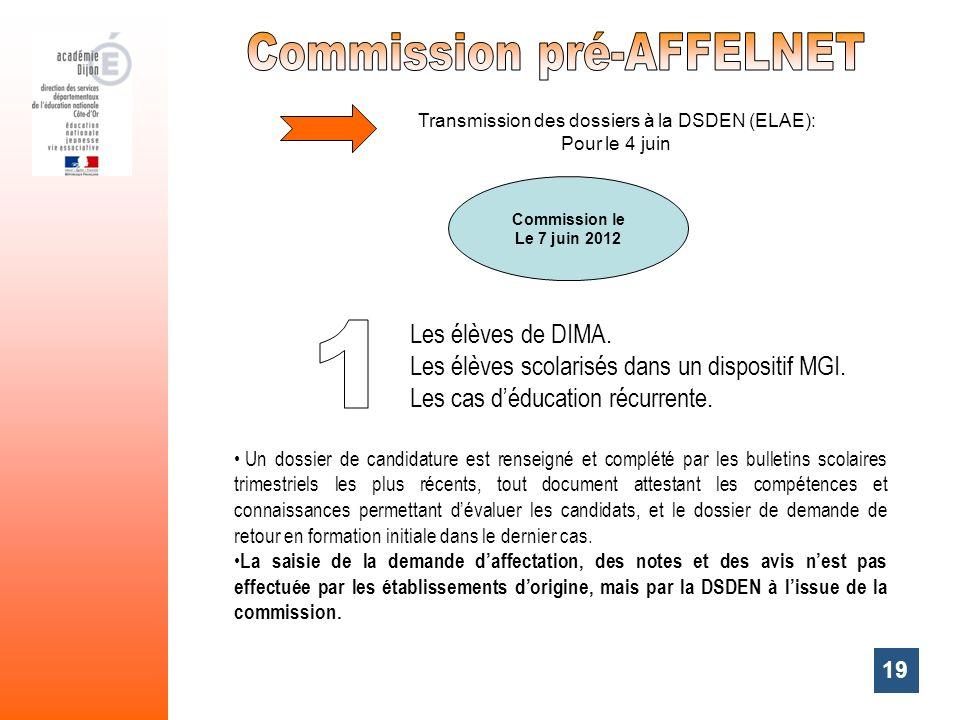 19 Commission le Le 7 juin 2012 Transmission des dossiers à la DSDEN (ELAE): Pour le 4 juin Un dossier de candidature est renseigné et complété par le