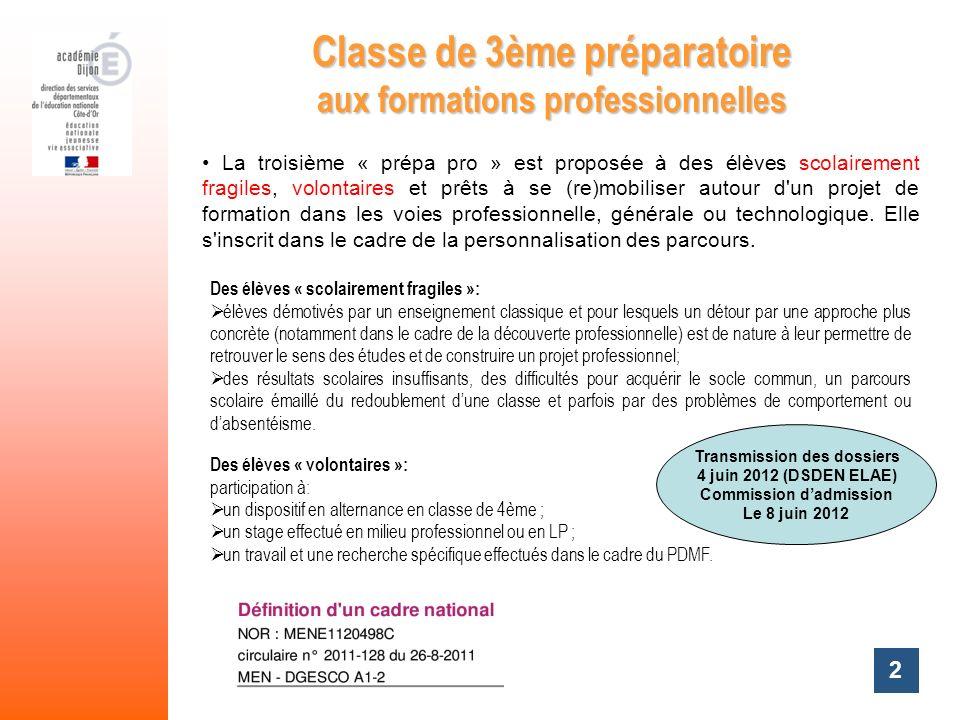 2 Classe de 3ème préparatoire aux formations professionnelles La troisième « prépa pro » est proposée à des élèves scolairement fragiles, volontaires