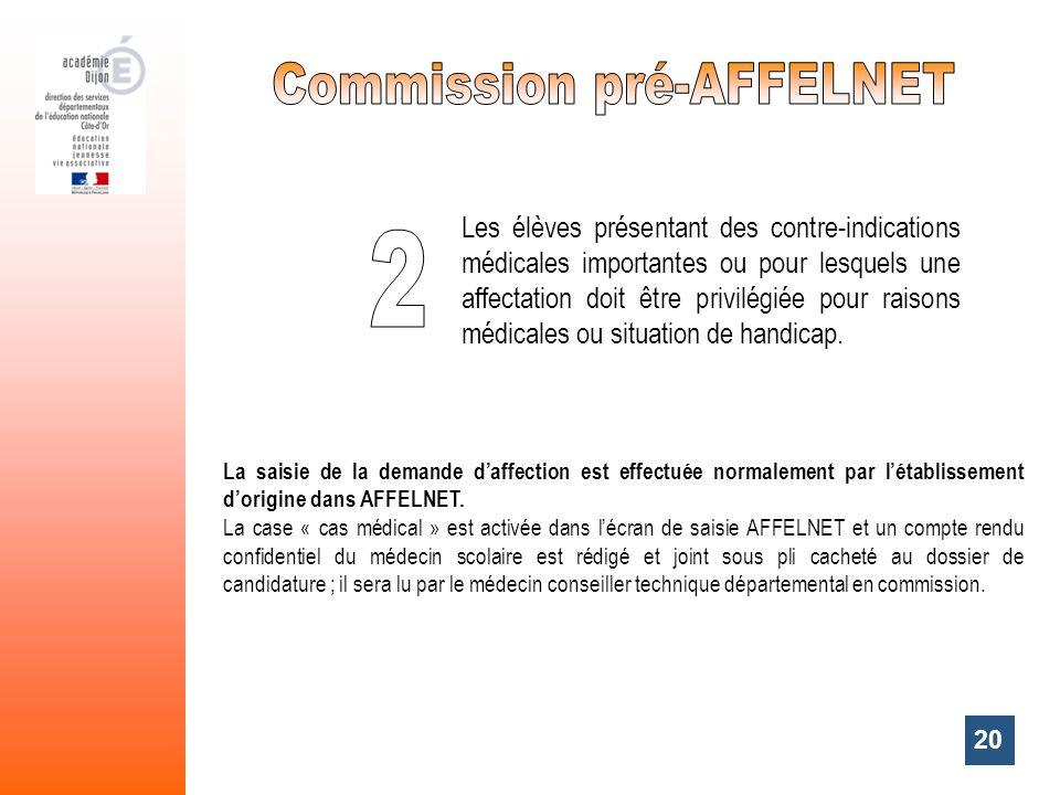 20 La saisie de la demande daffection est effectuée normalement par létablissement dorigine dans AFFELNET. La case « cas médical » est activée dans lé