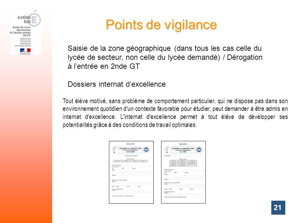 21 Points de vigilance Saisie de la zone géographique (dans tous les cas celle du lycée de secteur, non celle du lycée demandé) / Dérogation à lentrée
