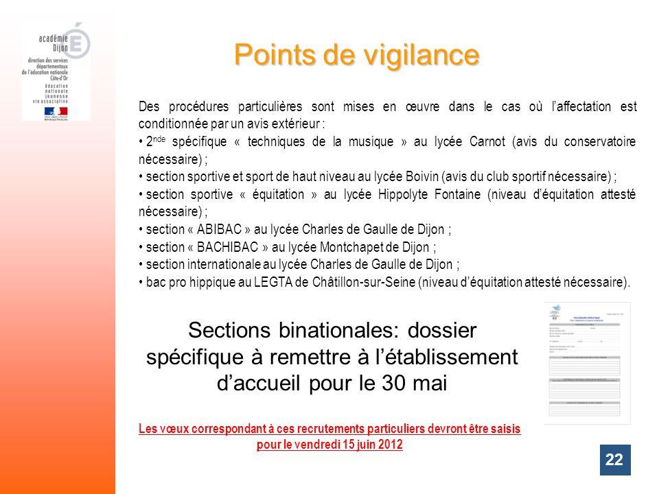 22 Sections binationales: dossier spécifique à remettre à létablissement daccueil pour le 30 mai Points de vigilance Les vœux correspondant à ces recr