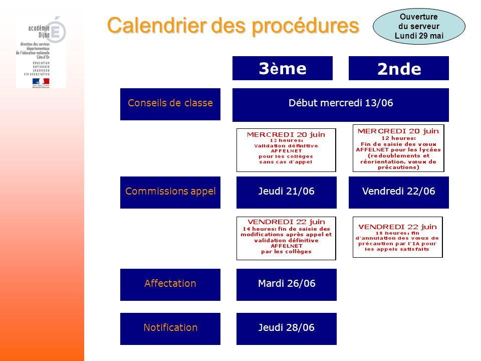 Calendrier des procédures Conseils de classe Commissions appel Affectation Notification 3 è me2nde Début mercredi 13/06 Jeudi 21/06 Mardi 26/06 Jeudi