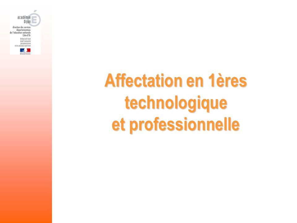 Affectation en 1ères technologique et professionnelle