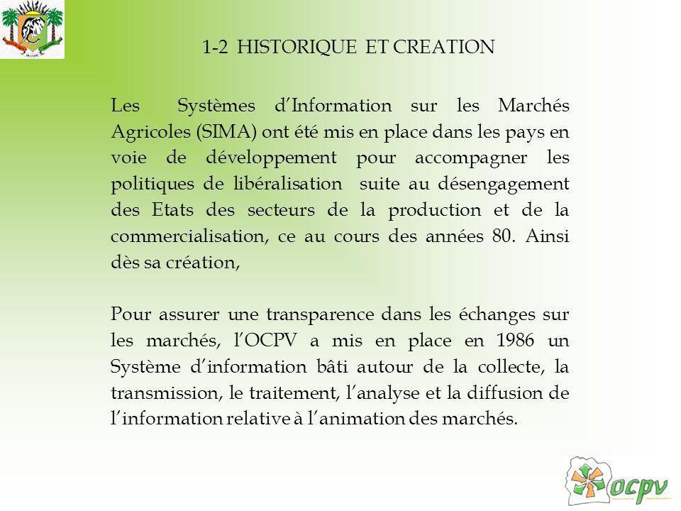 1-2 HISTORIQUE ET CREATION Les Systèmes dInformation sur les Marchés Agricoles (SIMA) ont été mis en place dans les pays en voie de développement pour