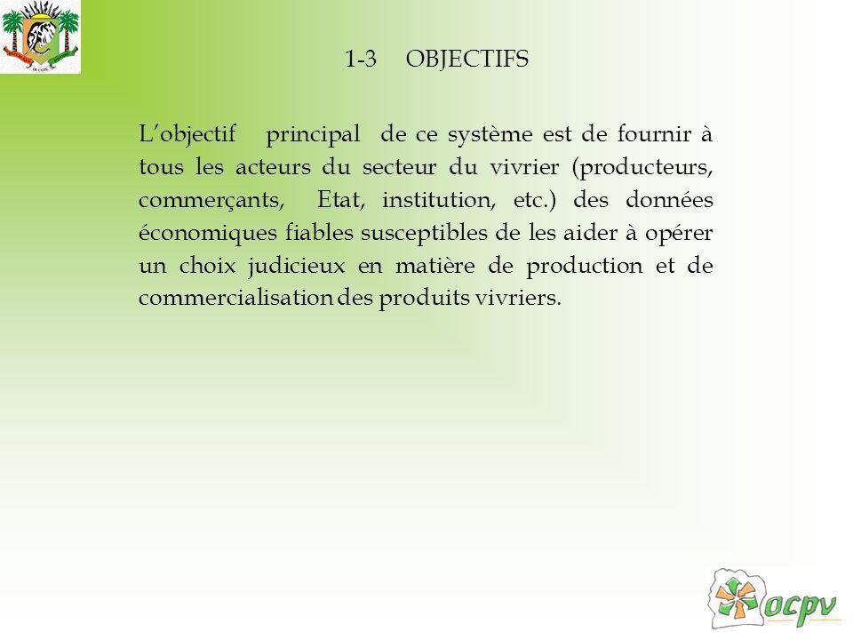 1-3 OBJECTIFS Lobjectif principal de ce système est de fournir à tous les acteurs du secteur du vivrier (producteurs, commerçants, Etat, institution, etc.) des données économiques fiables susceptibles de les aider à opérer un choix judicieux en matière de production et de commercialisation des produits vivriers.