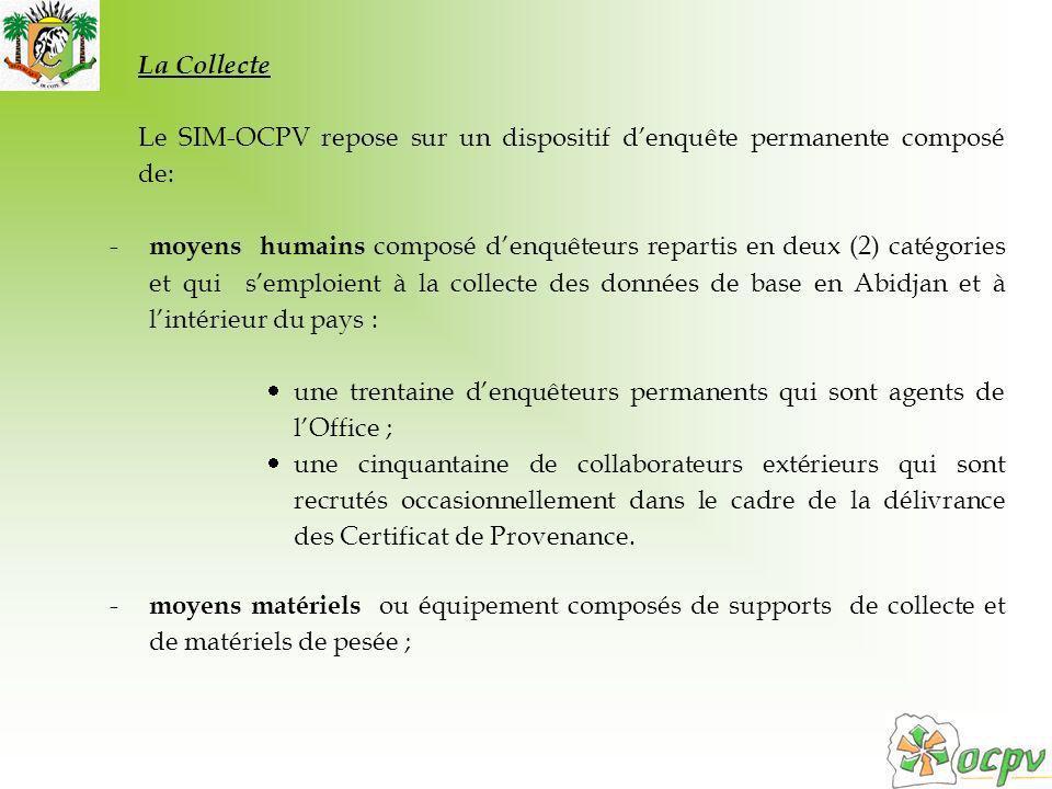 La Collecte Le SIM-OCPV repose sur un dispositif denquête permanente composé de: - moyens humains composé denquêteurs repartis en deux (2) catégories