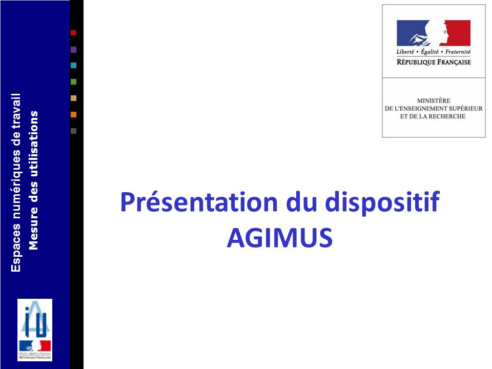 Espaces numériques de travail Mesure des utilisations Présentation du dispositif AGIMUS