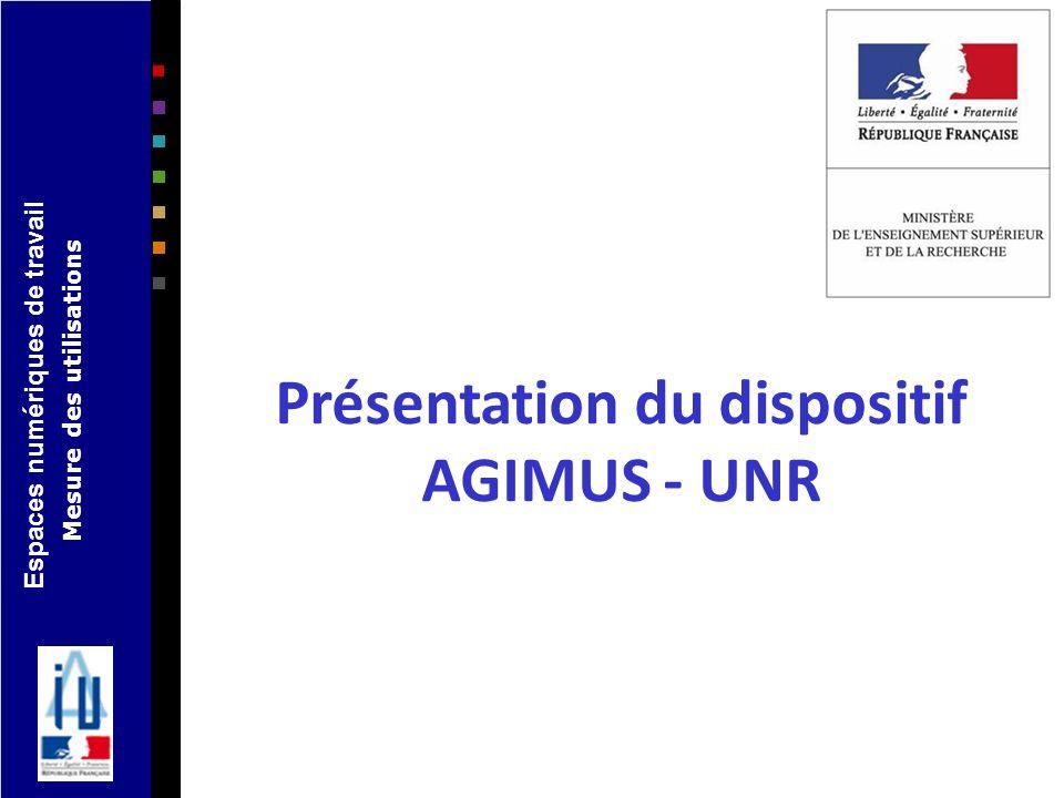 Espaces numériques de travail Mesure des utilisations Présentation du dispositif AGIMUS - UNR